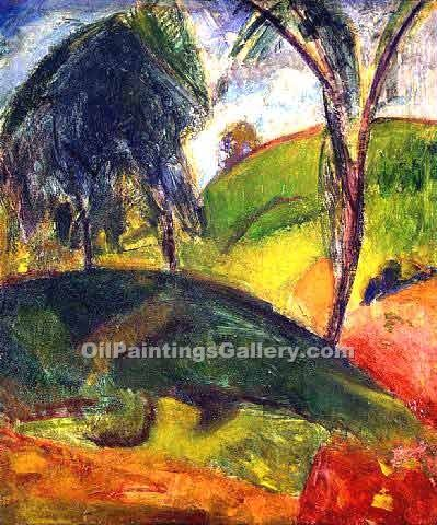 Fauve Landscape with Trees by Alfred Henry Maurer | Modern Painting Gallery - Oil Paintings Gallery