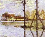 Ferry to the Ile-de-la-Loge-Flood by  Alfred Sisley (Painting ID: LA-0345-KA)