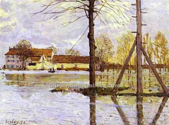 Ferry to the Ile-de-la-Loge-Flood by Alfred Sisley | Paintings Reproduction - Oil Paintings Gallery