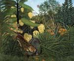 Fight Between a Tiger and a Buffalo by  Henri Rousseau (Painting ID: RO-0176-KA)