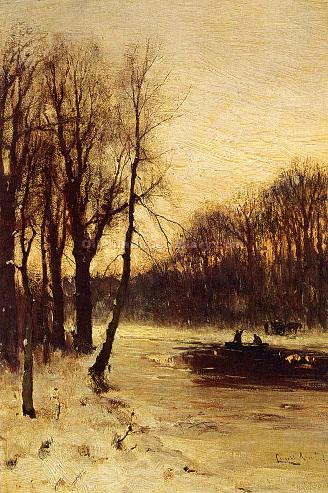 """Figures in a Winter Landscape"" by  Louis Apol"