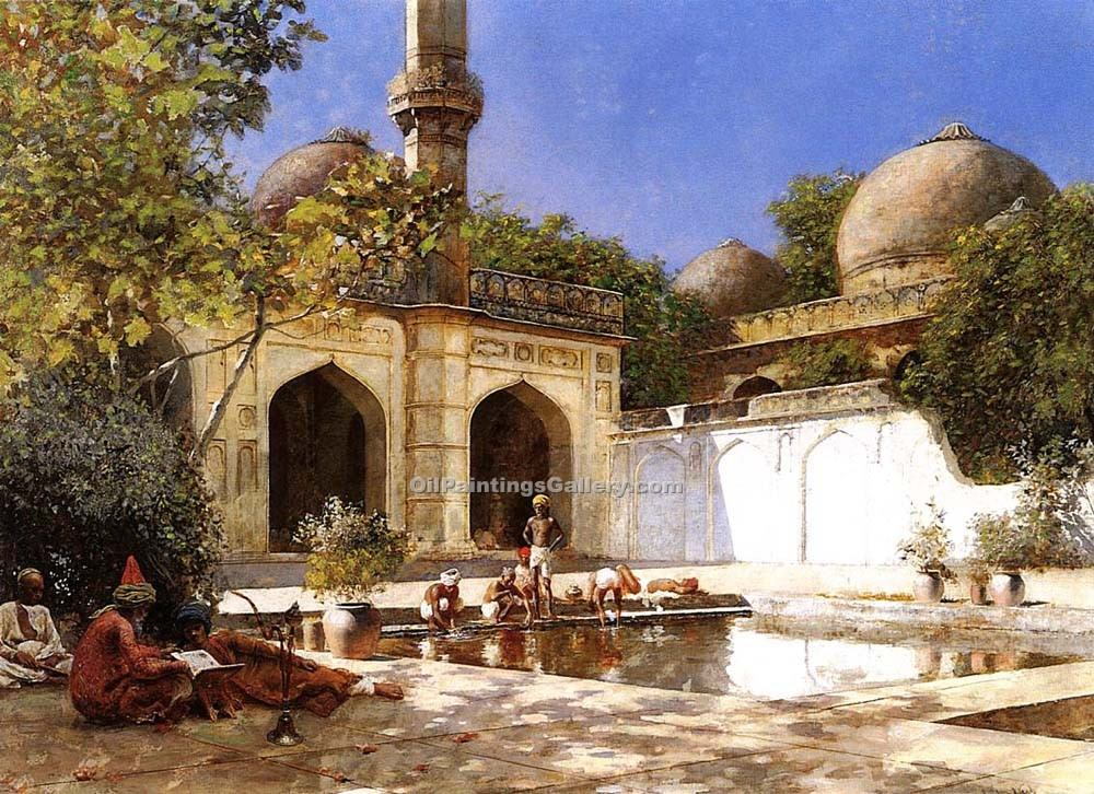 """Figures in the Courtyard of a Mosque"" by  Edwin Lord Weeks"
