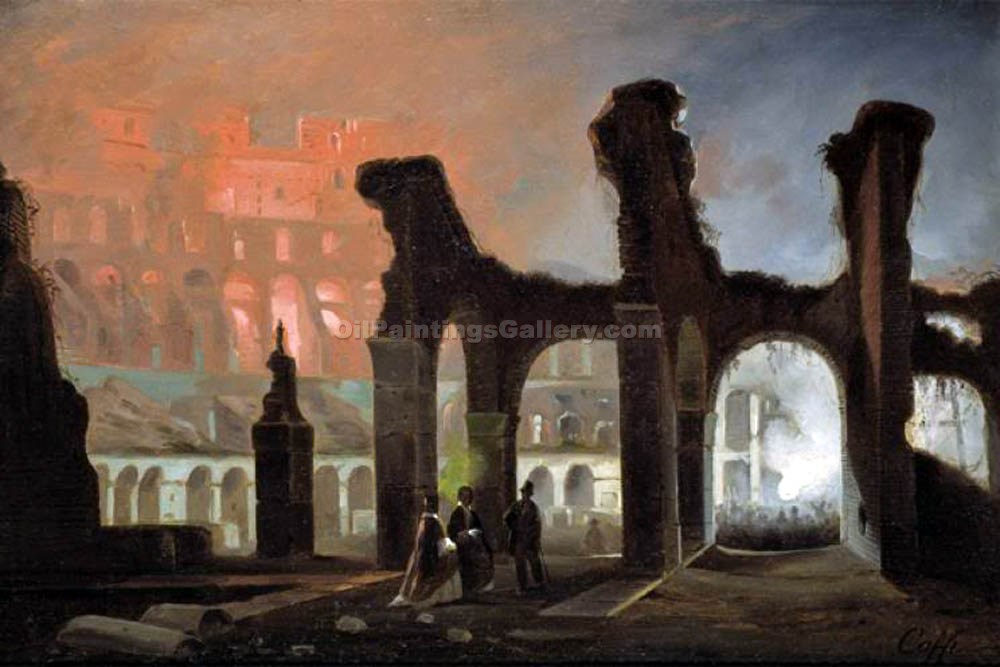 Fires of Bengal to the Colosseum by Ippolito Caffi | Art Deco Paintings - Oil Paintings Gallery