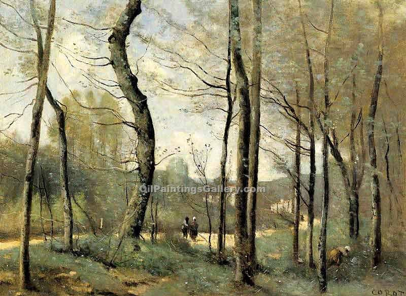 First Leaves near Nantes by Jean BaptisteCorot | Paintings On Canvas - Oil Paintings Gallery
