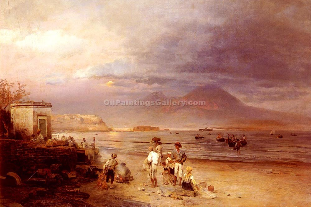 """Fisherman by The Bay of Naples"" by  Oswald Achenbach"