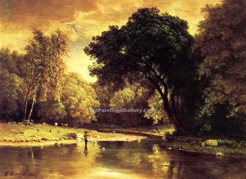 """Fisherman in a Stream"" by  George Inness"