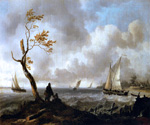 Fishing Boats and Coasting Vessel in Rough Weather by  Ludolf Backhuysen (Painting ID: LA-0491-KA)