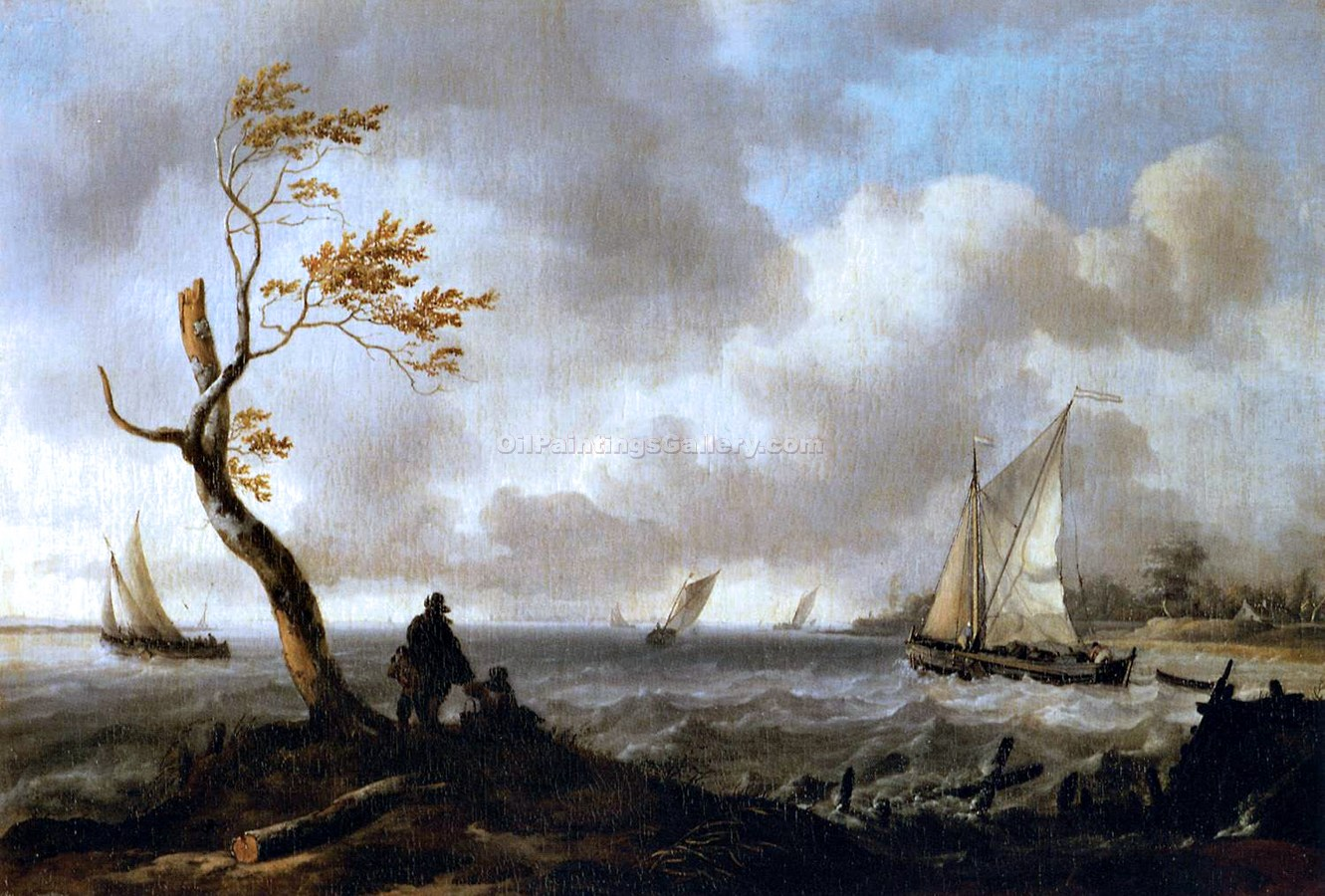 Fishing Boats and Coasting Vessel in Rough Weather by Ludolf Backhuysen | Best Online Art Gallery - Oil Paintings Gallery