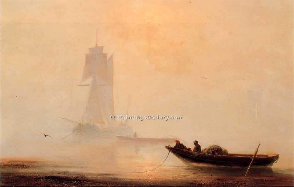 Fishing Boats in a Harbor by Ivan Aivazovsky | Oil Painting Gallery - Oil Paintings Gallery