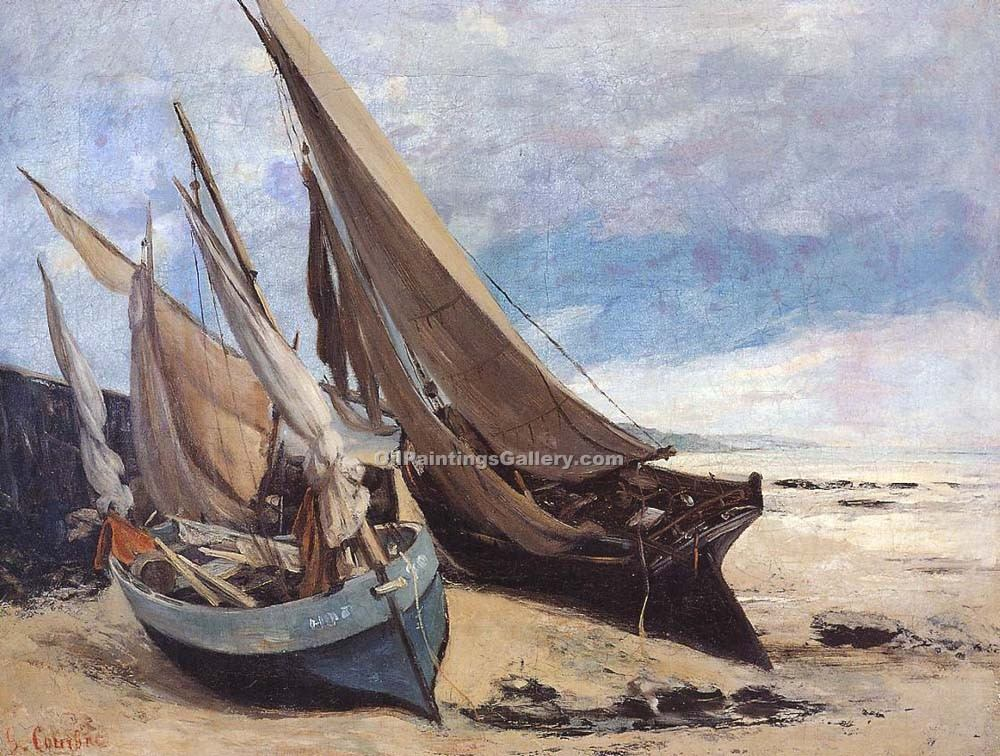 """Fishing Boats on the Deauville Beach"" by  Gustave Courbet"