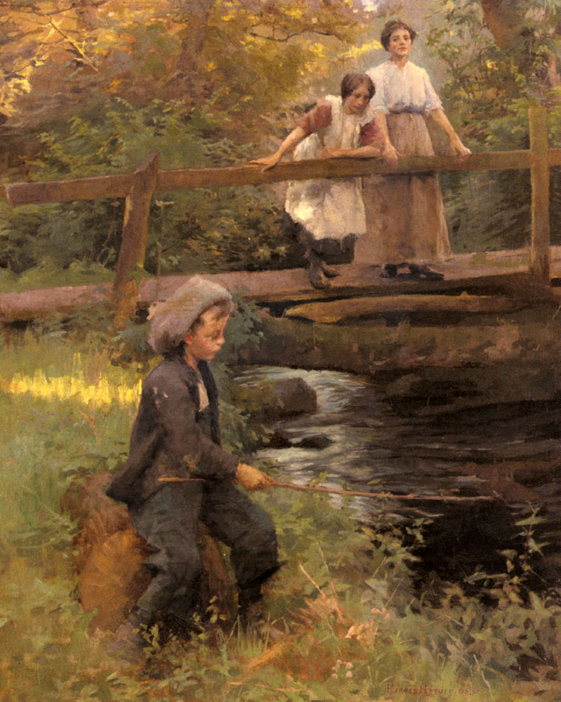 Fishing By A Forest Stream by HaroldHarvey | Modern Painting Gallery - Oil Paintings Gallery
