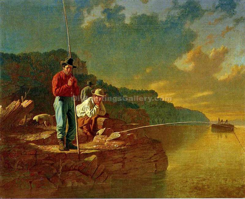 """Fishing on the Mississippi"" by  George Caleb Bingham"