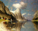 Fjord and Skap by  Adelsteen Normann (Painting ID: LA-3228-KA)