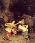Flirtation in the Wine Cellar by  Federico Andreotti (Painting ID: EI-0071-KA)