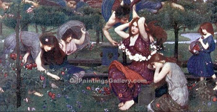 """Flora and the Zephyrs"" by  John William Waterhouse"