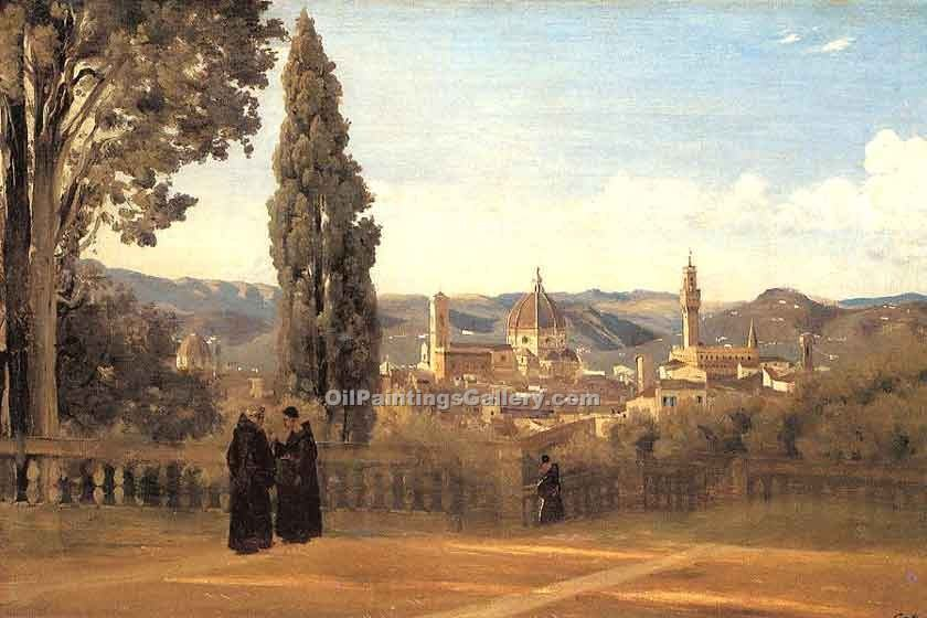 """Florence the Boboli Gardens"" by  Jean Baptiste Corot"