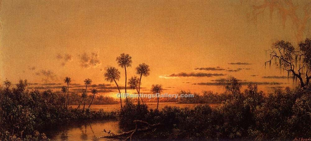 """Florida River Scene Early Evening, After Sunset"" by  Martin Johnson Heade"