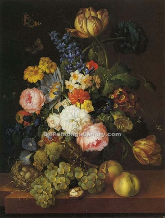 """Flowerblooms with Fruit"" by  Franz Xavier Petter"