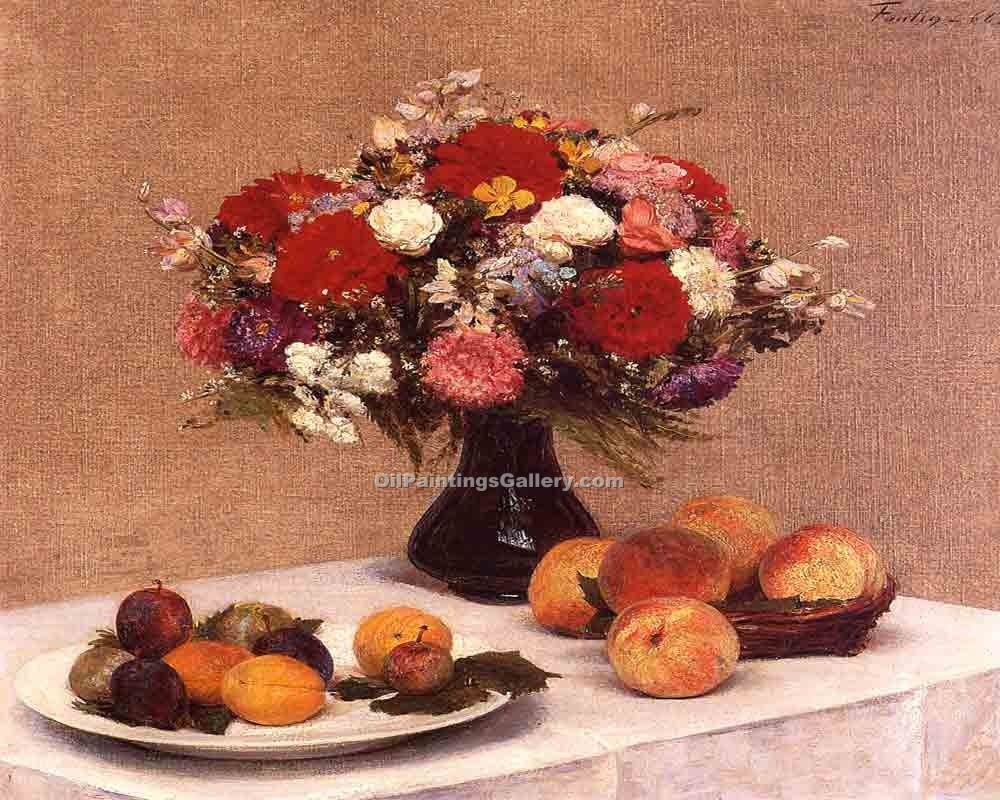 """Flowers and Fruit 53"" by  Henri Fantin Latour"