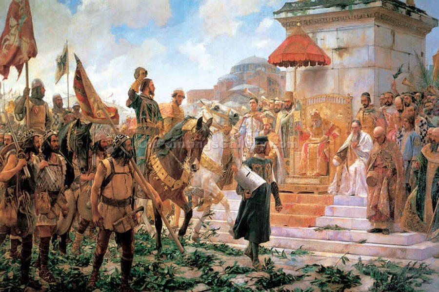 Flowers and the Entrance of Roger into Constantinople by Jose Moreno Carbonero | Modern Painting Reproductions