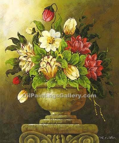 """Flowers in a Roman Carafe 90"""
