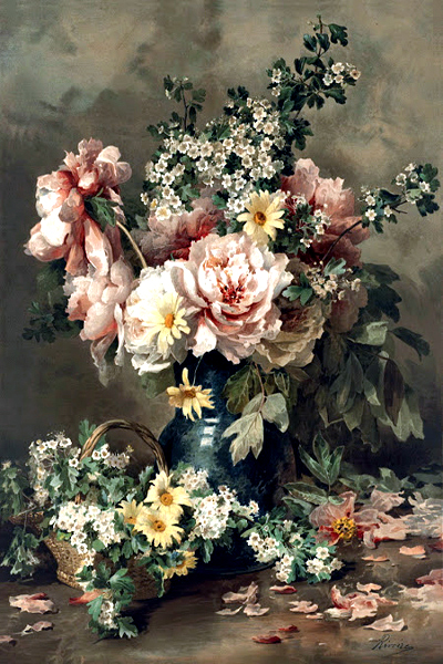 """Flowers in a Vase 18"" by  Francois Rivoire"
