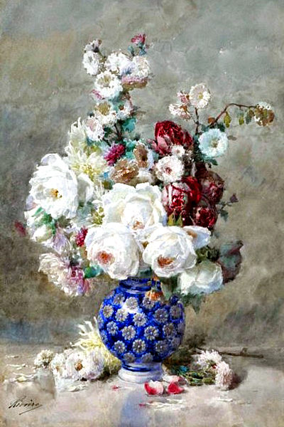 """Flowers in a Vase 20"" by  Francois Rivoire"