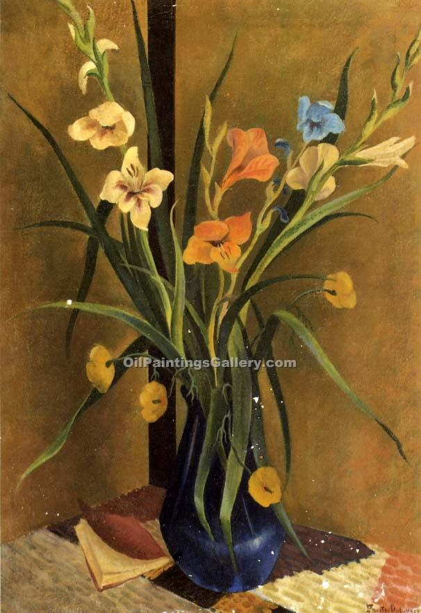 """Flowers in a Vase 50"" by  Preston Dickinson"