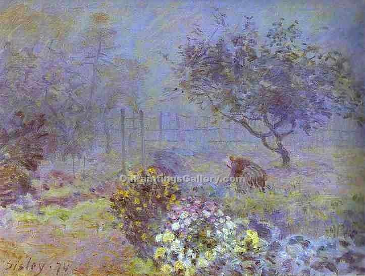 """Foggy Morning, Voisins"" by  Alfred Sisley"