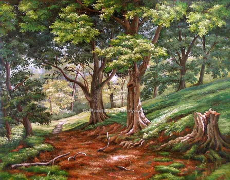 Famous Painters' Reproduction Paintings Online | American Realism & Impressionism - Forest Path Green