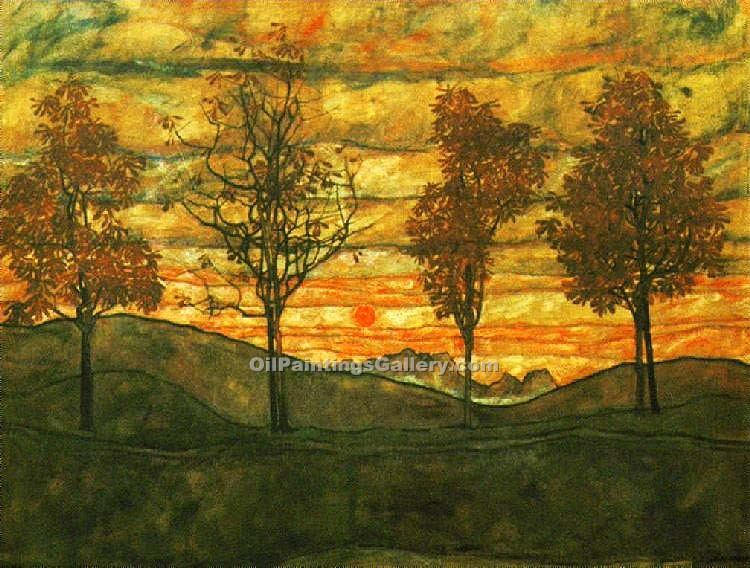 """Four Trees"" by  Egon Schiele"
