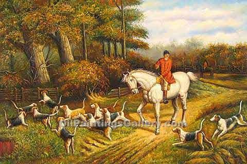 Buy Horse or Hunting Oil Painting Online | Realism & Naturalism styles - Fox Scent 16