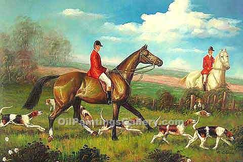 Buy Horse or Hunting Oil Painting Online | Fox Scent 21 - Realism & Naturalism styles