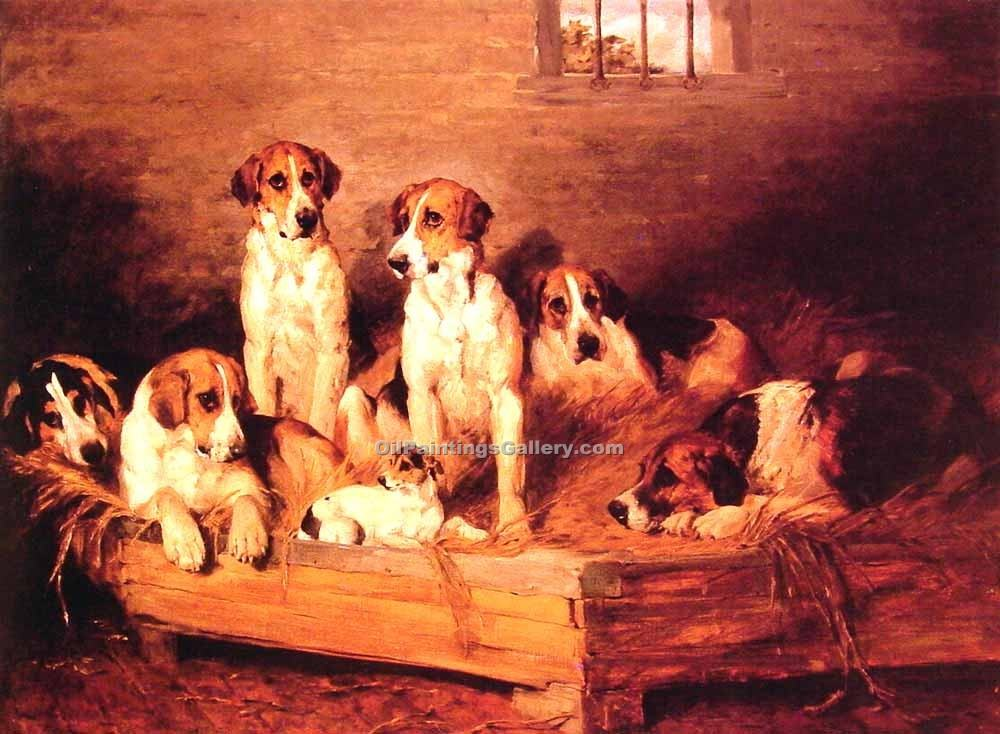 """Foxhounds and terriers in a Kennel"" by  John Emms"