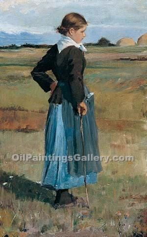 """French Peasant Girl"" by  Frederick Childe Hassam"