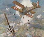 French Spad Shoots Down a German by  Francois Flameng (Painting ID: CL-0781-KA)