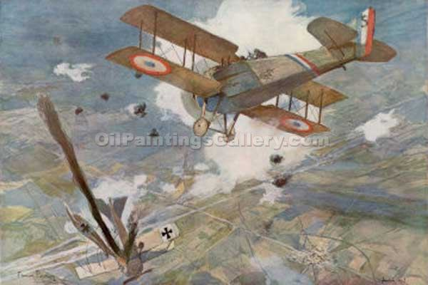 """French Spad Shoots Down a German"" by  Francois Flameng"