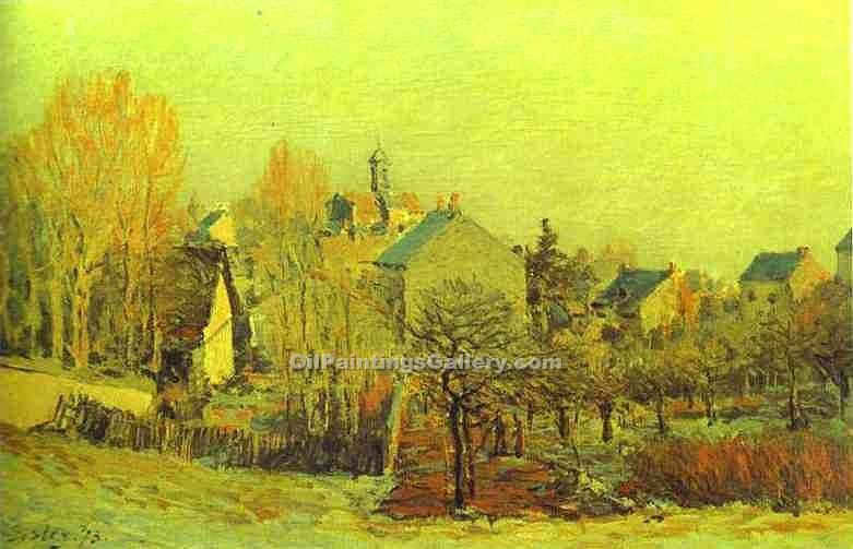 """Frost in Louveciennes"" by  Alfred Sisley"