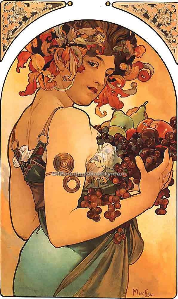 """Fruit 20"" by  Alphonse Maria Mucha"