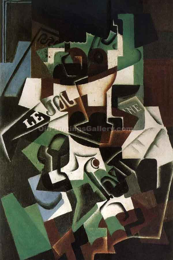 """Fruit Dish Pipe and Newspaper"" by  Juan Gris"