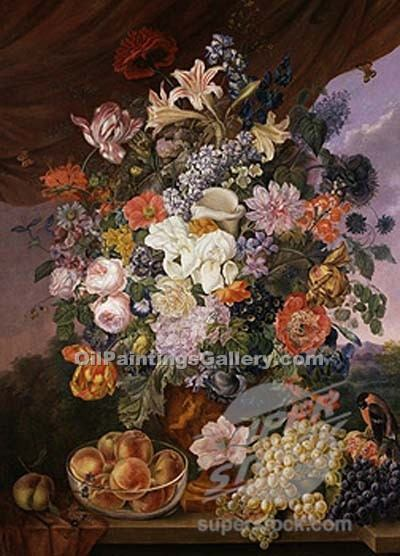 """Fruit and Flowers on Aledge in a Landscape"" by  Franz Xavier Petter"