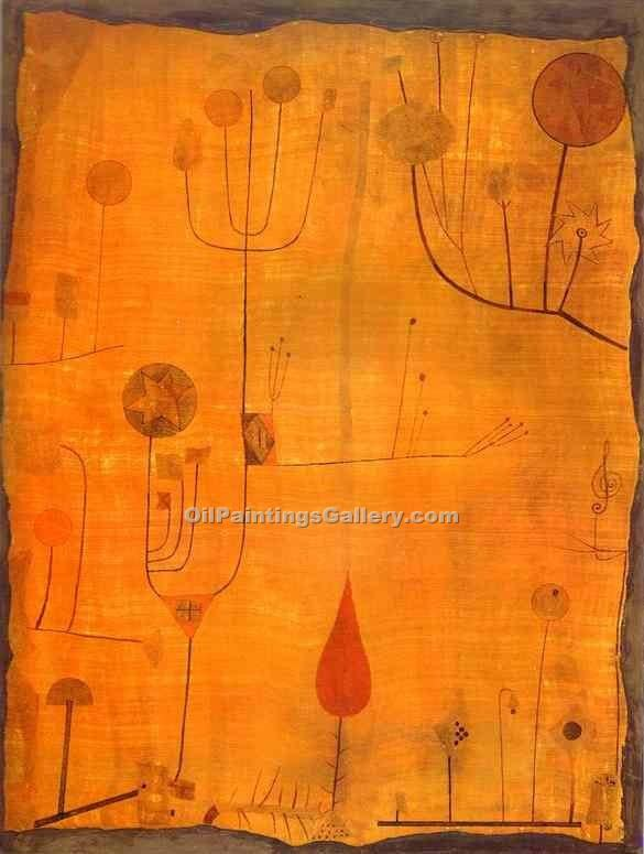 """Fruits on Red"" by  Paul Klee"