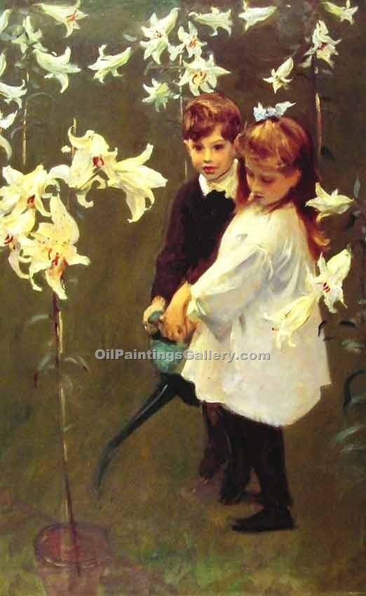 """Garden Study of the Vickers Children"" by  John Singer Sargent"