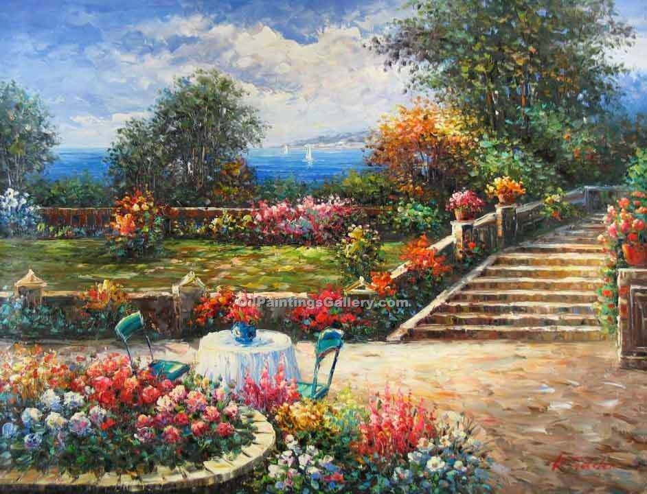 Buy Oil Painting Landscapes Online | Garden on the Mediterranean - Realism & Naturalism styles