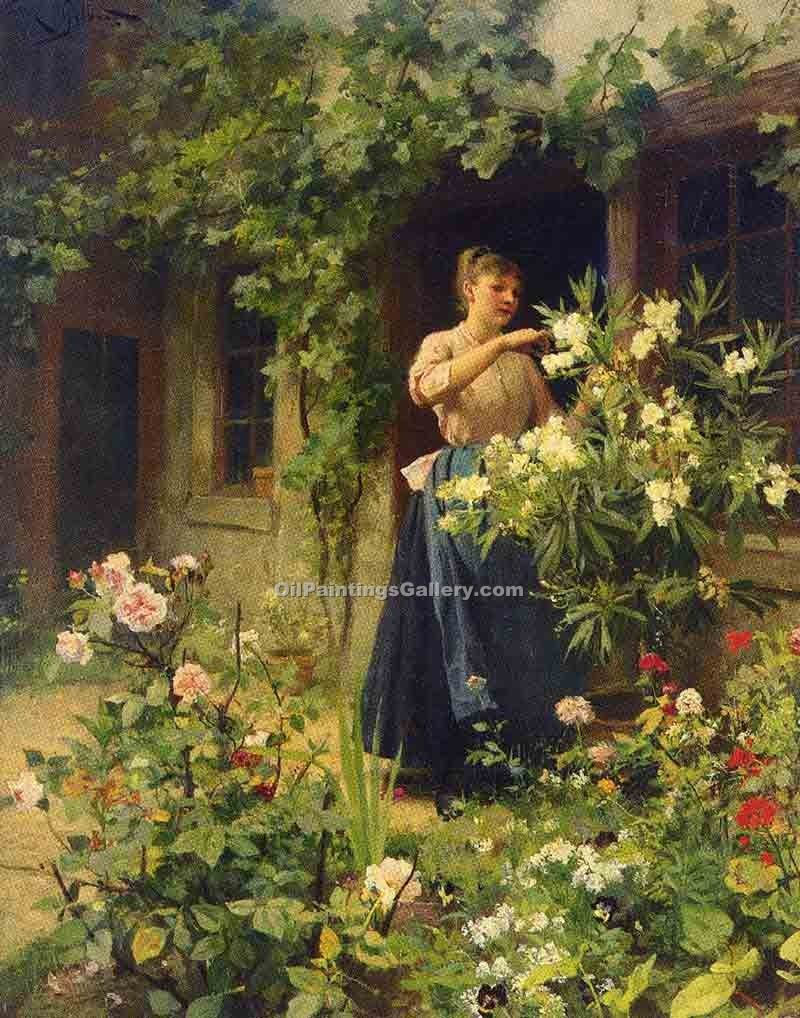 Gardening by Gilbert Victor Gabriel | Paintings Online - Oil Paintings Gallery