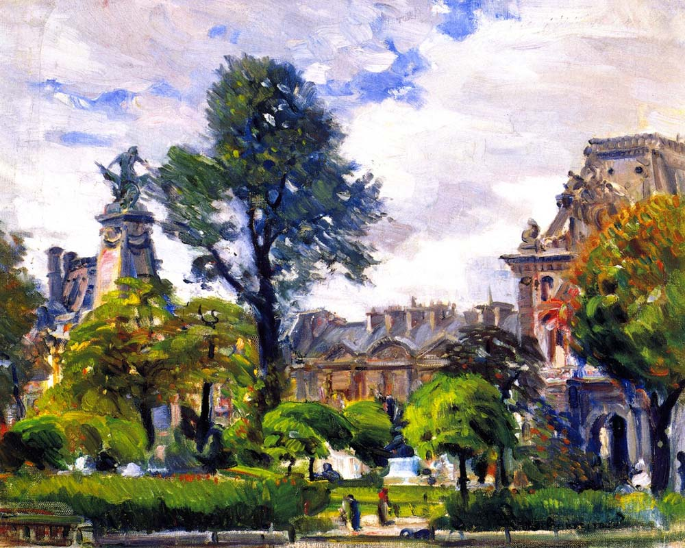 """Gardens of the Tuileries, The Louvre, Paris"" by  Joseph Kleitsch"