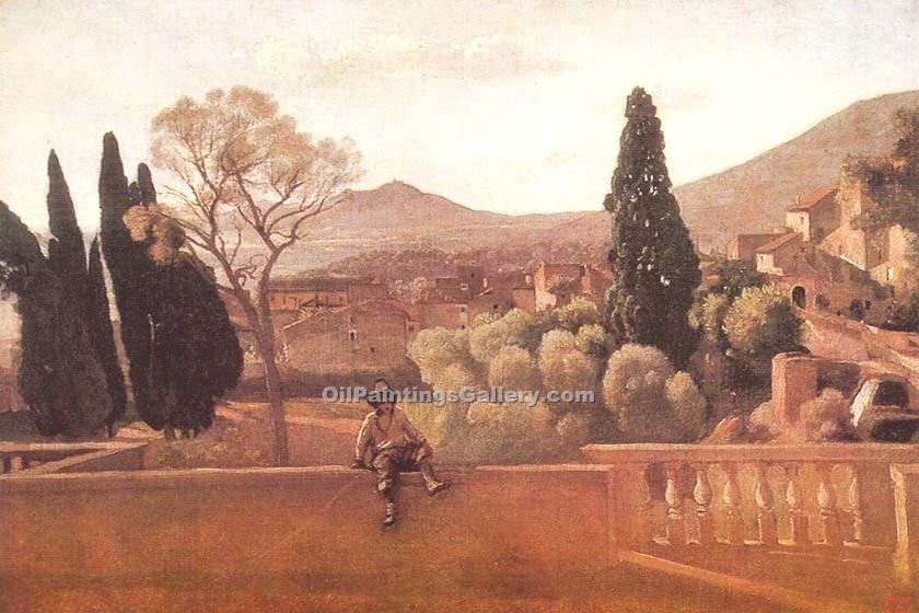 Gardens of the Villa d Este at Tivoli by Jean BaptisteCorot | Modern Art Paintings - Oil Paintings Gallery