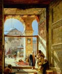 Gate of the Great Mosque of the Ommayads Damascus by  Gustav Bauernfeind (Painting ID: HO-1020-KA)