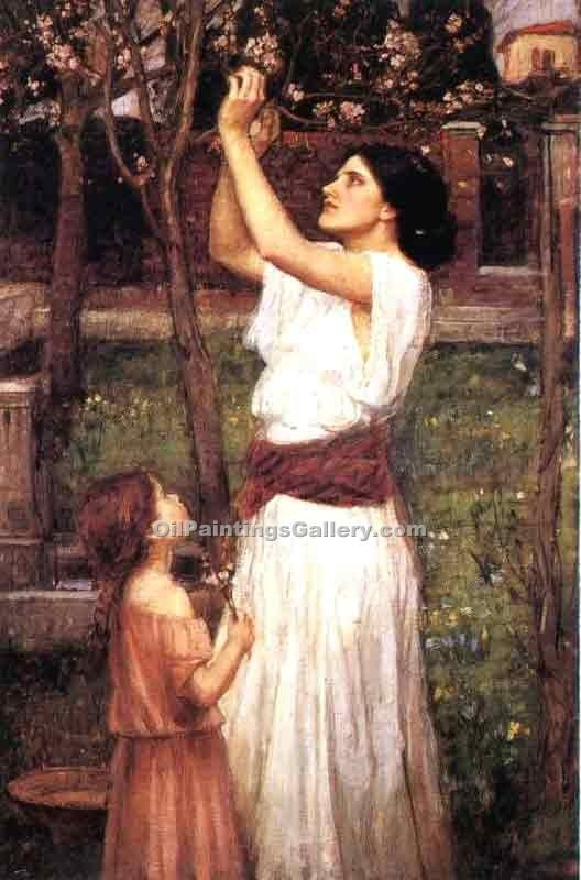 """Gathering Almond Blossoms"" by  John William Waterhouse"