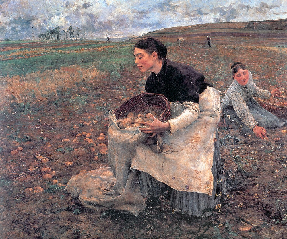 """Gathering Potatoes in October"" by  Jules Bastien Lepage"